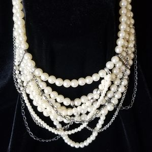 Multi Strand of Pearls with Chains